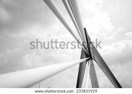 Modern bridge architecture at Putrajaya (Black and white) - stock photo