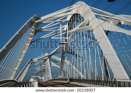 Modern bridge. Bridge to IJburg, Amsterdam.  (Enneüs Heerma Bridge)