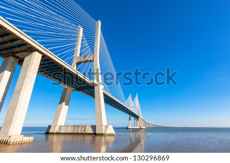 Modern bridge fragment - stock photo