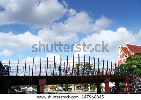 Modern bridge with blue sky.