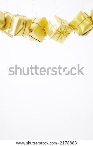Modern, bright and shiny Christmas decorations on white background - stock photo