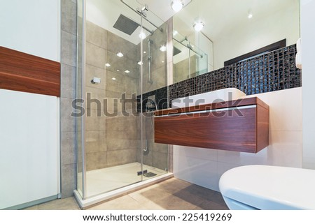 Modern bright bathroom interior - stock photo