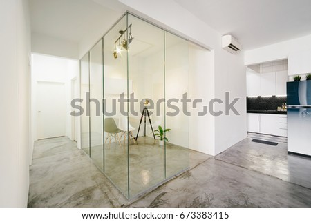 Modern,bright,clean,living ,study Room And Kitchen Interior With Glass  Partition Part 74