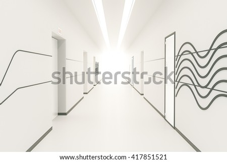 Modern bright corridor interior with pattern on wall, multiple doors and light at the end. 3D Rendering - stock photo