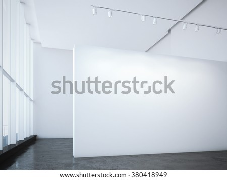 Modern bright gallery with white wall and spotlights. 3d rendering - stock photo