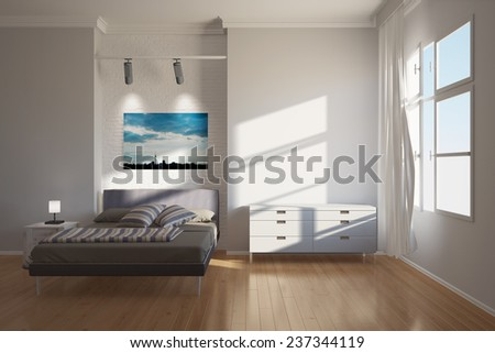 Modern bright hotel interior in Berlin with bed and furniture (3D Rendering) - stock photo