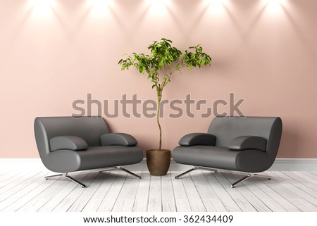 Modern bright interior 3D render - stock photo