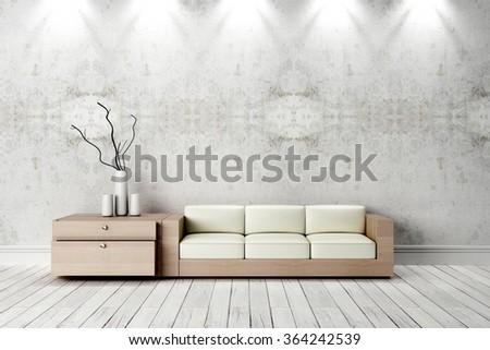 Modern bright interior. 3D render - stock photo