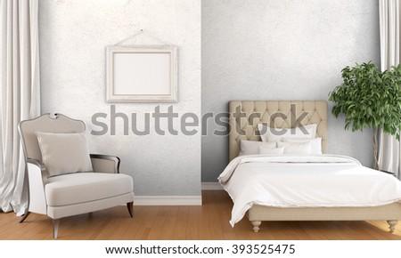 Modern bright interior . 3D render - stock photo