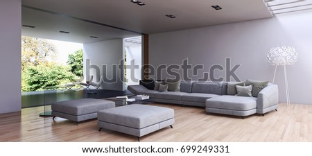 Modern bright interiors. 3D rendering