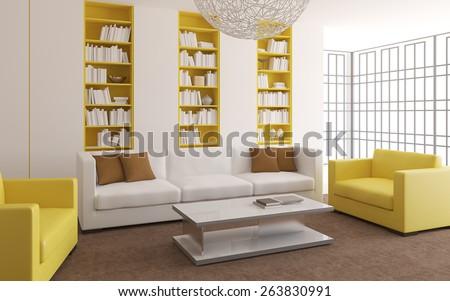 Modern bright living-room interior. 3d render. - stock photo