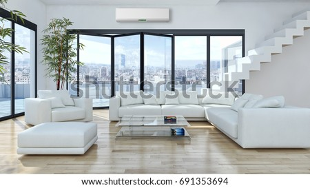 Modern Bright Living Room Lounge Interior Stock Illustration ...