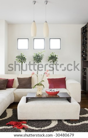 modern bright living room with sofa - stock photo
