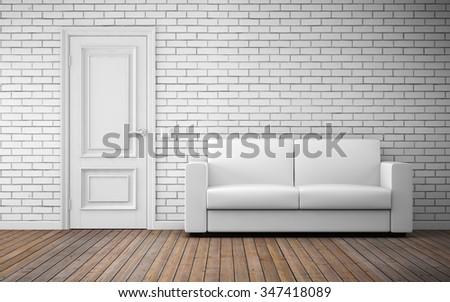 Modern bright room interior background. 3d rendering - stock photo