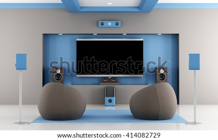 modern brown and blue home theater with two fashion armchair - 3d rendering