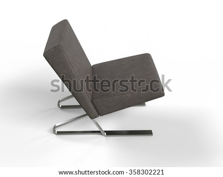 Modern brown leather armchair - top view - stock photo