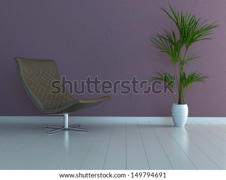 Modern brown leather chair against violet wall with plant decoration - stock photo