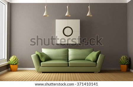 Modern brown living room with green couch - 3D Rendering - stock photo