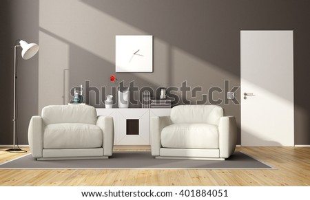 Modern brown living room with two armchair,sideboard and closed door - 3d rendering - stock photo