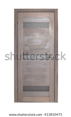 Modern brown room door isolated on white background - stock photo