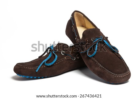 Modern brown suede men shoes isolated on the white background - stock photo