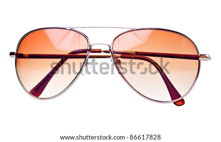 Modern brown tinted sunglasses on a white background - stock photo