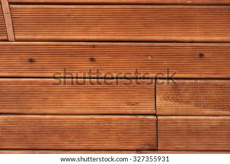 Modern Brown Wood Terrace Decking Textured Background Overhead View - stock photo