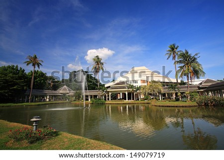 Modern building against blue sky at Sanam Chan Palace in Nakhon Pathom, Thailand