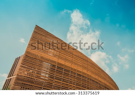 Modern building and blue sky - stock photo
