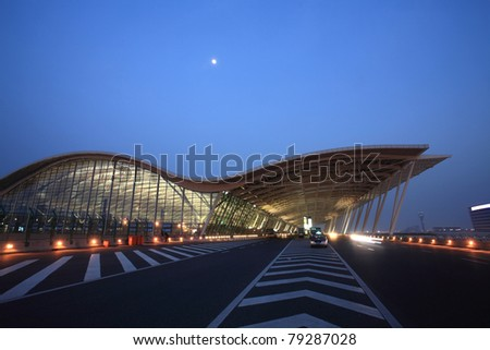 modern building at pudong airport in shanghai - stock photo