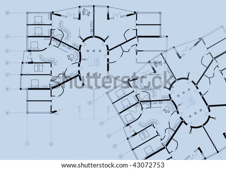 Modern building cad architectural apartment plan stock illustration modern building cad architectural apartment plan blueprint drawing on blue background malvernweather Gallery