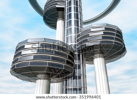 Modern building. Construction of steel and glass skyline. 3d rendering image. - stock photo