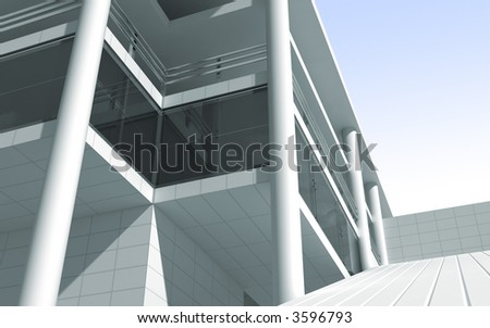 modern building 3d render - stock photo