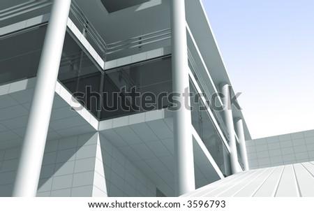 modern building 3d render - stock photo