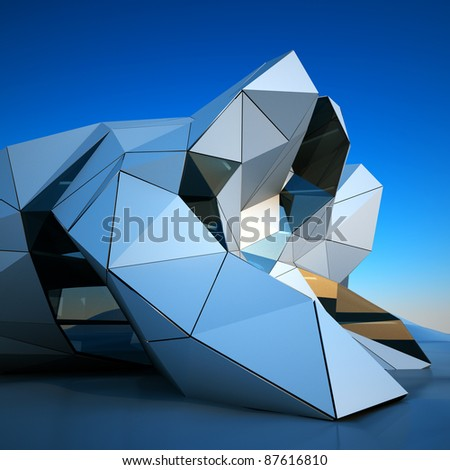 Modern building downtown, 3d rendering image - stock photo