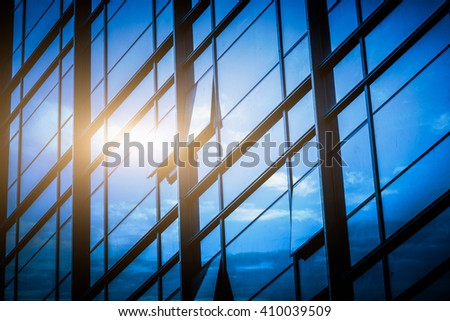 modern building exterior,blue toned image. - stock photo