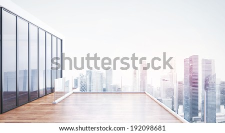 Modern building exterior with terrace - stock photo