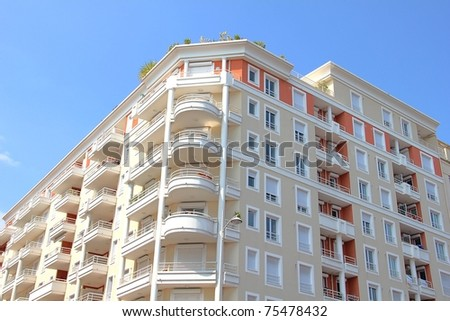Modern building in Nice, French Riviera - stock photo