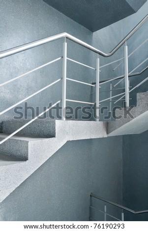 Modern building interior. Empty stairway. - stock photo