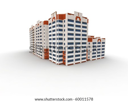 Modern building on white background, 3D render. - stock photo