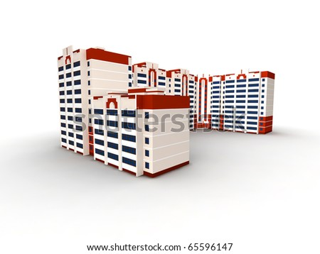 Modern building on white background, 3D render.