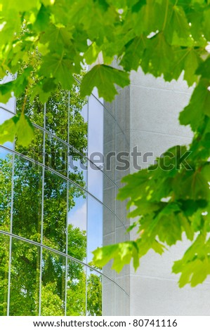 modern building reflects nature