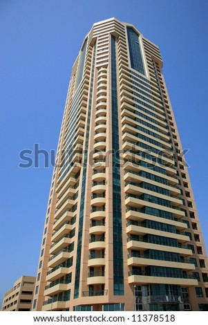 Modern  Building Rising in Downtown - stock photo