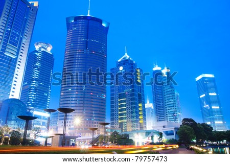 modern building skyline at night in shanghai lujiazui financial centre ,China - stock photo