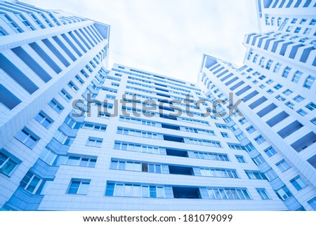 Modern building walls perspective view - stock photo