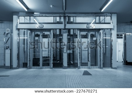 Modern building with an elevator closeup photo - stock photo
