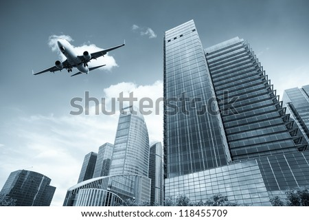 modern building with scheduled flight in shanghai - stock photo