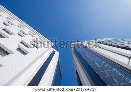 modern buildings and blue sky view from the bottom Quito Ecuador South America - stock photo