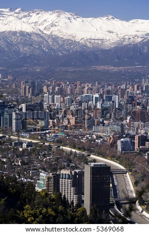 Modern buildings and flats in downtown Santiago, Chile.