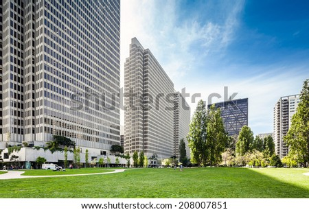 Modern buildings around the park in San Francisco - stock photo